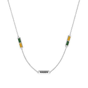 George Mason University Sterling Silver Engraved Triple Station In Necklace Green and Yellow