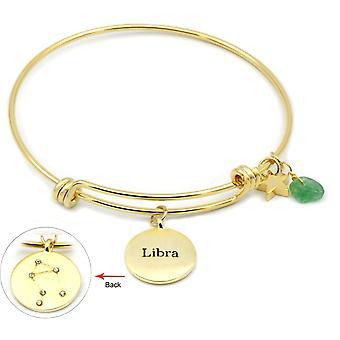 Éternelle couleur or zodiaque réglable bracelet Collection Libra péridot et zircon cubique