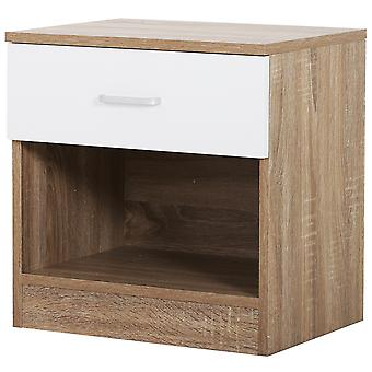 HOMCOM Classic Bedside Drawer Table Shelf Bedroom Storage Compact Night Stand  Two Tone w/ Top Drawer White Oak  45L x 35W x 46.5Hcm