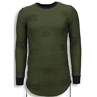 Destroyed Look Sweater-Side Laces Long Fit Sweatshirt-Green