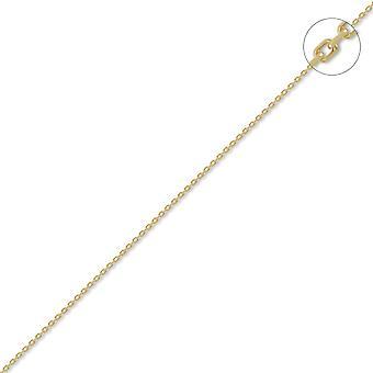 Jewelco London Unisex Solid 18ct keltainen kulta jäljittää 1.3 mm mittari riipus ketjun kaula koru