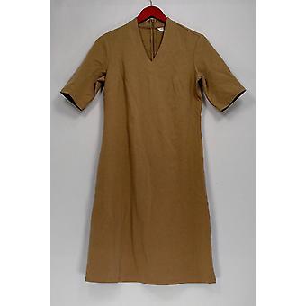 Liz Claiborne New York Dress Essentials Short Sleeve V-neck Beige A261258