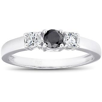 1 / 2ct Black & blanc diamant or blanc bague de fiançailles 3-Pierre 10K