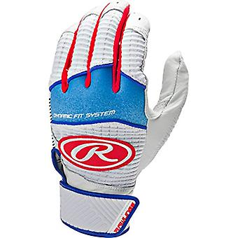 Rawlings WH950BGY-RWB-89 Workhorse 950 Series Youth Batting Gloves, White/Red, Medium