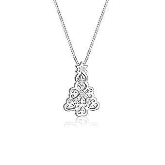 Elli Halskette mit Damen Anhänger in Silber mit weißen Zirkonia - 45 cm
