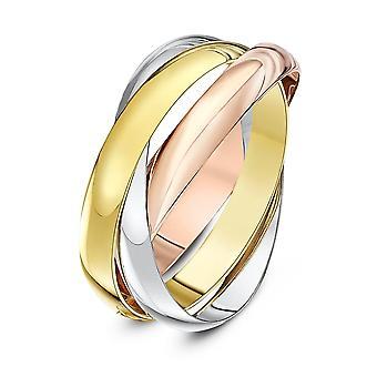 Star Wedding Rings 9ct Three Colour Gold 3mm Russian Wedding Ring