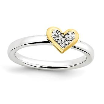925 Sterling Silver Rhodium Polished Prong set Stackable Expressions Love Heart With Dia. and 14k Gold Plated Ring Jewel