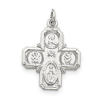 925 Sterling Silver Solid Polished Not engraveable 4 way Medal Pendant Necklace Jewelry Gifts for Women