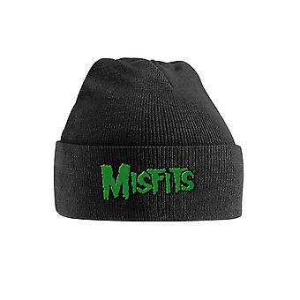 Misfits Beanie Hat Green Band Logo new Official Black Embroidered