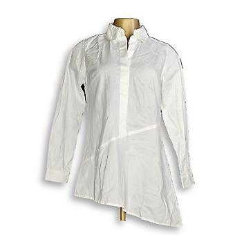 Joan Rivers Classics Collection mulheres ' s Top denim assimétrico branco A349280