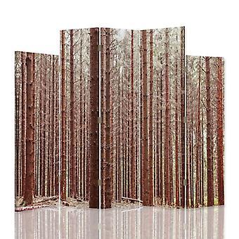 Dekorativ rumsavdelare, 5 paneler, dubbelsidig, 360 ° vridbar canvas, lärk skog 2