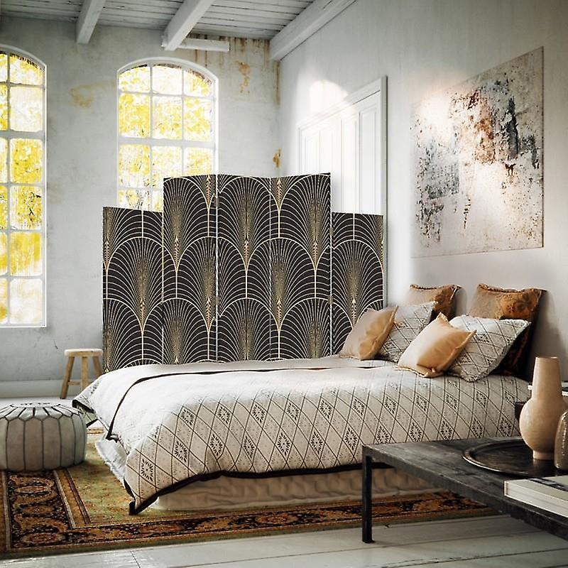 Diviseur de pièce décoratif, 5 panneaux, double-sided, toile rotative de 360 , formes géométriques 2
