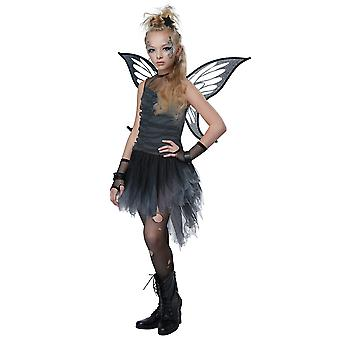 Mystical Fairy Dark Black Pixie Fallen Angel Gothic Child Girls Costume