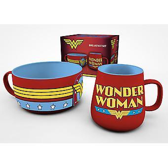 DC Comics Aamiainen asettaa ihme nainen punainen, painettu, 2-osainen, lahja pakkaus.