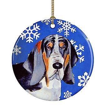 Basset Hound copo de nieve de invierno vacaciones adorno cerámica LH9282