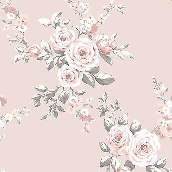 Catherine Lansfield Canterbury Floral Wallpaper Blush Muriva 165504
