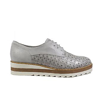 Tamaris 23752 Silver Leather Womens Lace Up Shoes