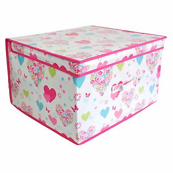 Childrens/Girls Heart & Flower Design Folding Storage Chests (Pack Of 2)