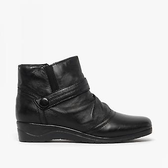 Dr Keller Hannah Ladies Leather Ankle Boots Black