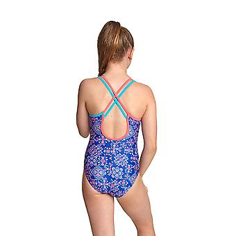 Zoggs Enchanted Girl's Crossback One Pieces Swimsuit in Blue / Multi