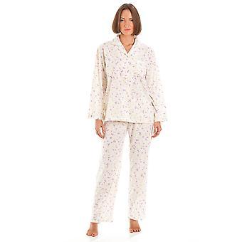 Bayan Markiz Çiçek Baskı Polycotton Uzun Gecelik Pijama Pijama Pijama