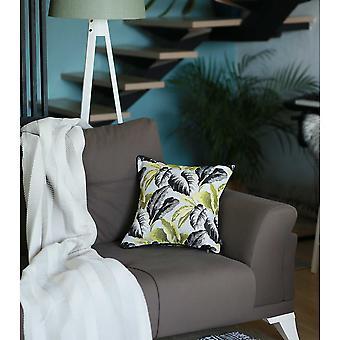 Black White Celadon Tropical Leaf Decorative Throw Pillow Cover