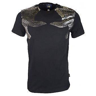 Cavalli Class Stretch Cotton Printed Logo Black T-shirt