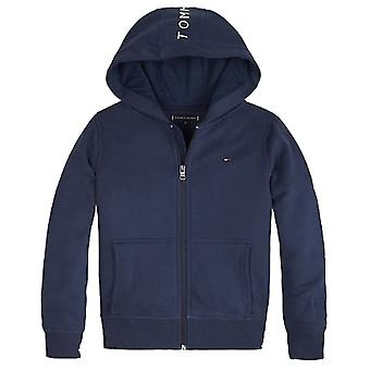 Tommy Hilfiger Garçons Tommy Hilfiger Boy-apos;s Navy Logo Tape Hooded Sweat Top