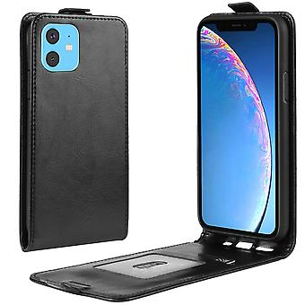 For iPhone 11 Case Black Wild Horse PU Leather Vertical Flip Protective Cover with Card Slot, Magnetic Closure