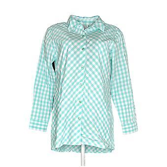 Joan Rivers Women's Gingham Boyfriend Shirt w/ Hi-Low Hem Green A287724