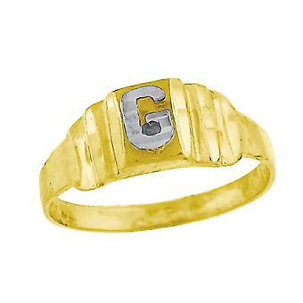 10k Two tone Gold baby voor jongens of meisjesLetter Naam Gepersonaliseerde Monogram Initial G Band Ring Measures 6.3x2.50mm Wide S