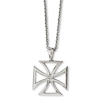 Stainless Steel Lobster Closure Polished Religious Faith Cross Pendant 18inch Necklace 18 Inch Jewelry Gifts for W (en)