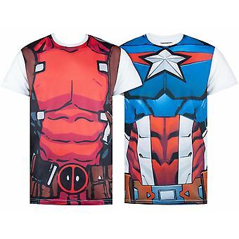 Marvel Superheld Cosplay Captain America Deadpool Avengers Herren T-Shirts