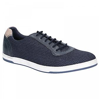 Base London Hustle Navy Leather And Textile Mesh Lace Up Trainers