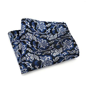 Deep blue & silvery white floral pattern pocket square