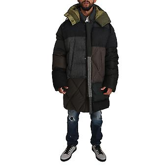 Dolce & Gabbana Gray Brown Wool Patterned Puffer Hooded Coat