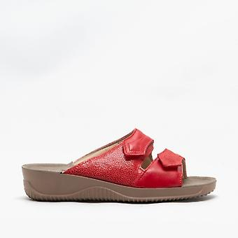 Rohde 1946 Ladies Leather Mule Sandal Red