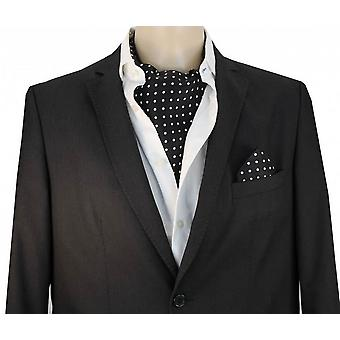 David Van Hagen Silk Polka Dot Cravat - Preto/Branco