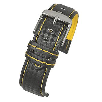 Carbon fibre watch strap with yellow stitching size 18mm to 24mm
