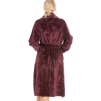 Camille Luxurious Supersoft Burgundy Honeycomb Bathrobe