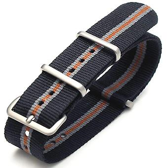 Strapcode n.a.t.o watch strap 20mm g10 nato james bond heavy nylon strap brushed buckle - j19 black , grey , orange