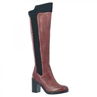 Leonardo Shoes Women's handmade heels knee high boots burgundy leather back zip
