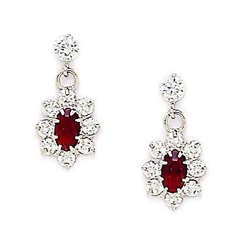 14k Wit Goud januari rood 3x5mm CZ Flower Drop Screw terug Oorbellen maatregelen 16x8mm sieraden geschenken voor vrouwen