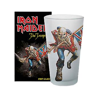 Iron Maiden Pint Lasi Trooper Band Logo Eddie uusi virallinen Boxed