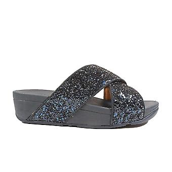 Fitflop Lulu Slide Navy Glitter Womens Slip On Mule Sandals