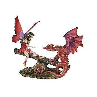 Forest Friends Frolicking Fairy and Dragon Seesaw Statue