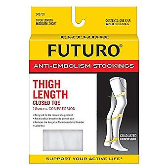 Futuro anti-embolism thigh length stockings, medium short, white, 1 pair