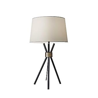 Black Metal Tripod Leg with Antique Brass Accent Table Lamp