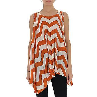 Issey Miyake Im07fj67644 Women's Orange/white Silk Top