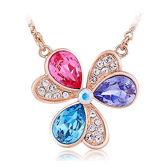 TOC Rose-Goldtone Multicolour Crystal Flower Pendant Necklace 16
